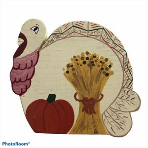 Wooden Cookie Jar Lid Turkey Thanksgiving Canister
